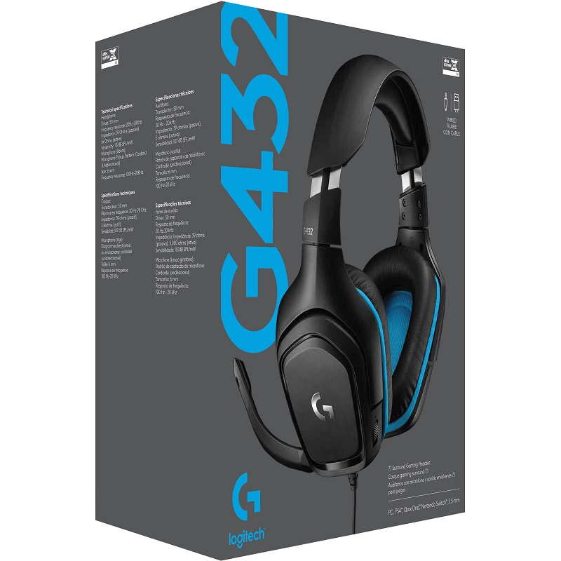 Logitech G432 7.1 Surround Wired Gaming Headset    هدست باسیم گیمینگ لاجیتک مدل جی ۴۳۲   هدست لاجیتک g432    هدست گیمینگ لاجیتک g432